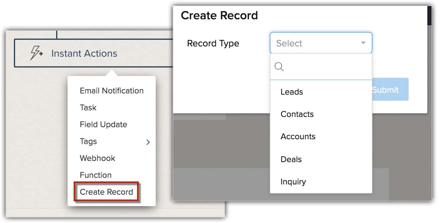 Crear registro con WF
